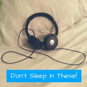 Looking for headphones to wear while sleeping, especially if your partner snores? Don't use hard wired headphones, use SleepPhones.