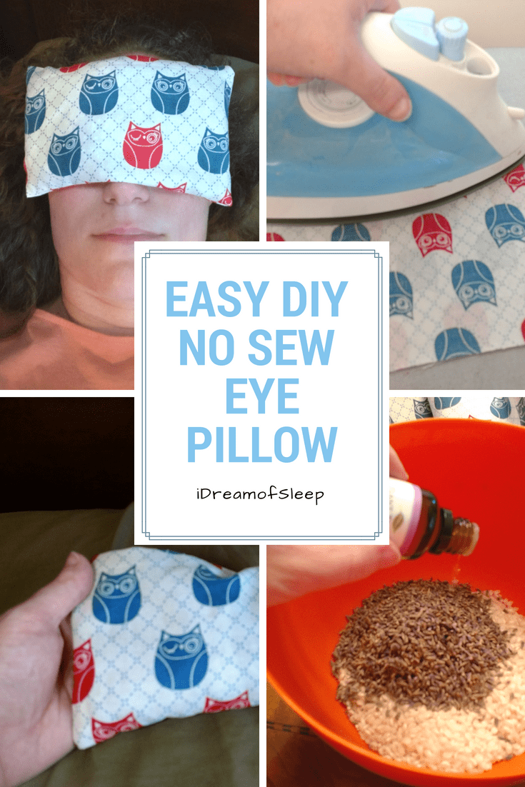 My lavender sleeping eye pillow died and I didn't have a sewing machine. Ugh! So I got creative and made this awesome no sew eye pillow with essential oils, rice, and a little ingenuity. Here's my easy DIY tutorial you can do in less than 20 minutes! #aromatherapy #insomnia #essentialoils